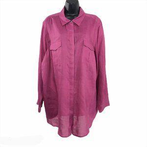 J. Jill Shirt Ramie Pink Long Sleeve Size 3X